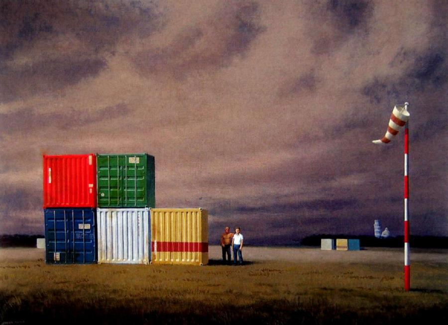 jeffrey smart 'containers at pisa airport 1998-99'