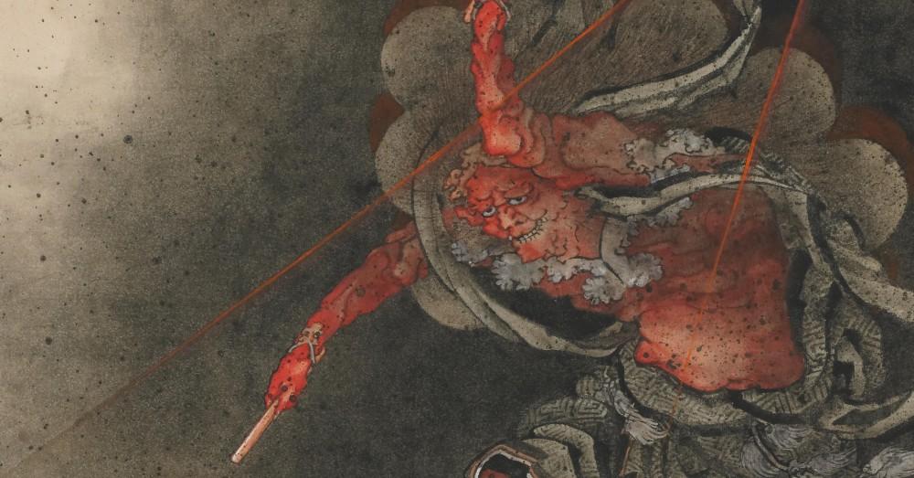 katsushika-hokusai-thunder-god